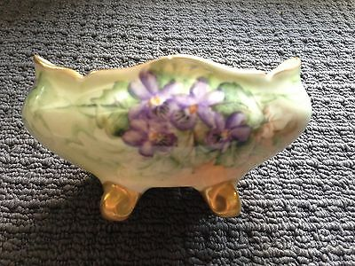 B & Co Limoges French Hand Painted Porcelain Trough With Purple Flowers