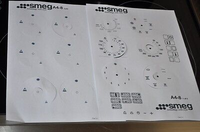 Smeg range oven facia stickers,decals clear vinyl A4-8 etc