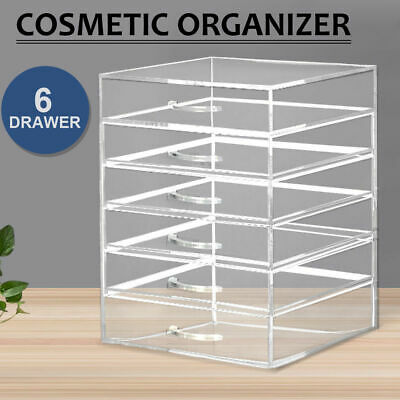 6 Drawers Cosmetic Organizer Clear Acrylic Jewellery Box Makeup Storage Case
