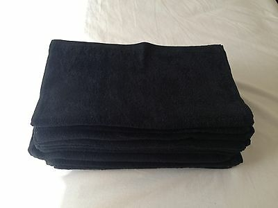 Black Hairdressing Towels X10   100% Cotton Stain And Bleach Resistant