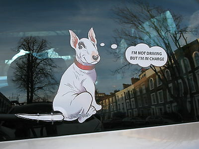 English Bull Terrier Or 'bullie' Car Sticker Gift Collectable With Wagging Tail
