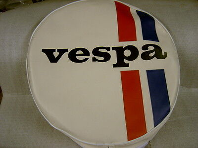 "Vespa Spare Wheel Cover In Cream With Black Vespa  And Stripes ""free Postage"""