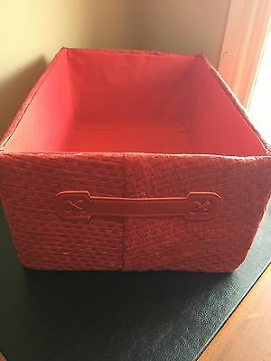 Red Storage Box with Handles - Lined - Home Office/Work/Bedroom/Laundry