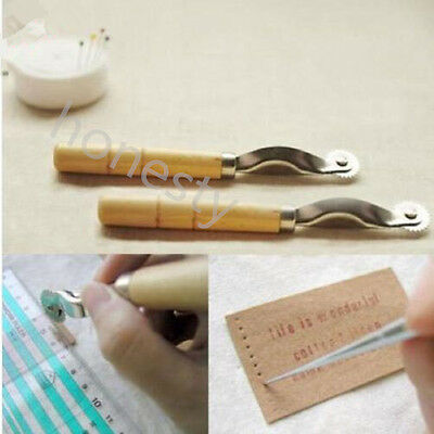 2XSerrate Edge Pattern Tracer Tracing Wheel Sewing Tool for Tailor Wooden Handle