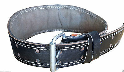PS Weight lifting Leather Gym Belt - 6 inch wide (XL 32-40), (Large 30-38)