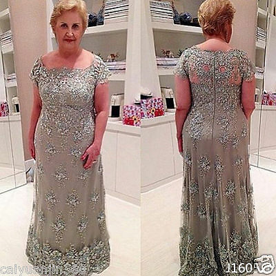 Plus Size Vintage Mother of the Bride Dresses Lace Formal Evening Party Gowns