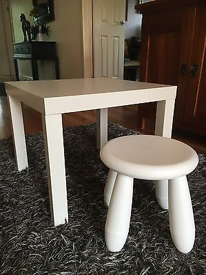 """Ikea Kids Table and Chair Set """"as new"""" Children Toddler Activity Furniture White"""