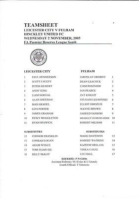 Leicester City Reserves V Fulham Reserves 05/06 At Hinckley - Single Sheet.