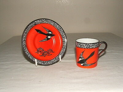 Carlton Ware Art Deco Magpie Coffee Cup & Saucer  Truly Stunning