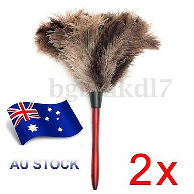 2X Anti-static Ostrich Feather Fur Brush Duster Dust Cleaning Tools Wood Handle