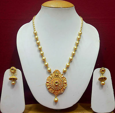 Indian Gold Pendant Necklace Earrings Wedding Jewelry Free Shipping Sets f6p35