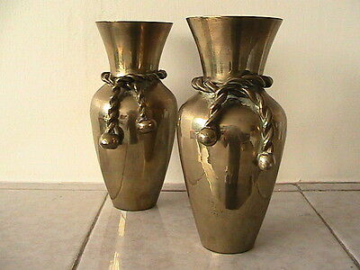 Vintage Complimentary Pair Solid Brass Vases Rope Effect Collars Right And Left