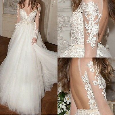 New Open Back white/ivory Tulle Lace Long Sleeve Wedding Dress Bride Gown Custom