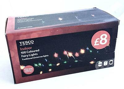 Tesco Indoor 100 Coloured Fairy Lights Traditional Christmas Lights 11.4m Mains