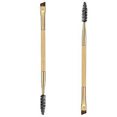 2 In 1 Eyebrow Brush+Eyebrow Comb Double Ended Angled Bamboo Handle Make Up Tool