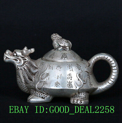 Collections Tibet Silver Handwork Dragon Turtle Shape Teapots CSY648