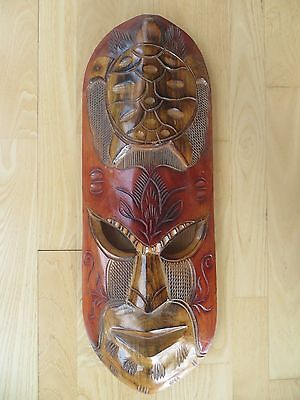 Fijian mask hand carved and painted 26 inches Polynesian art