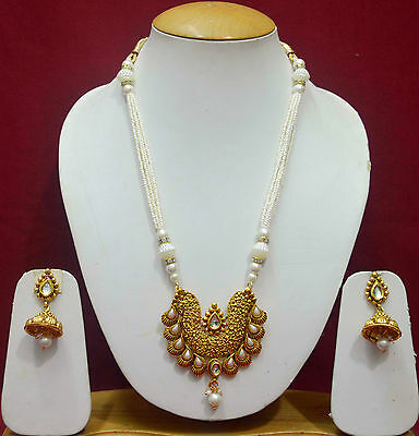 South Indian Pearl Copper Party Wear Necklace Earring Gold Jewellery Sets f45n29