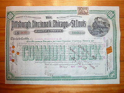 RR: 1899 !!!  Pittsburgh, Cinci, Chicago & St. Louis Railway Co. 100 Shares*