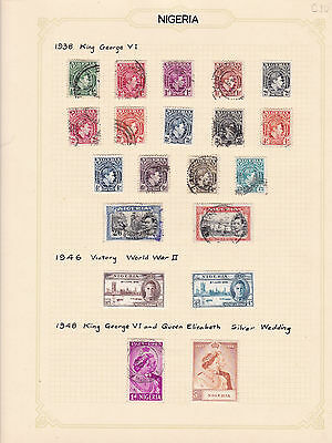Nigeria 1938 - 1948  , Values To Five Shillings Stamps On Album Page  Ref 4311