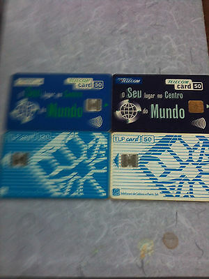 4 x  Portugal used chipcards all different as scan