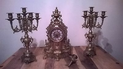 Beautiful Ornate Brass Mantle Clock Candelabra Set French Style c description