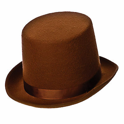 One Size Brown Top Adults Hat Victorian Style Fancy Dress Up Party Accessory New