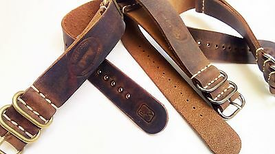 Genuine Leather Military Watch Strap Band NATO G10 Handmade 18/20/22/24mm