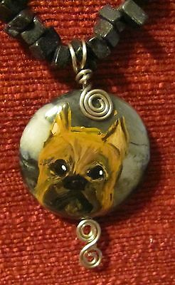Brussels Griffon - smooth - hand painted on wire wrapped pendant/bead/necklace