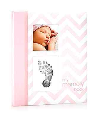 New Pearhead Chevron Baby Memory Keepsake Book Girl Footprint Touch Pad - Pink