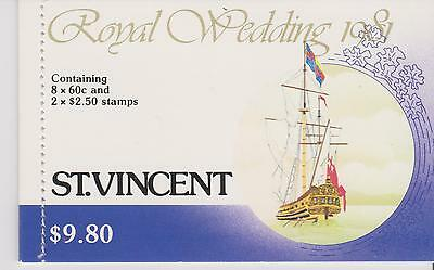 St Vincent 1981-  Royal Wedding  -  booklet containing 10 unmounted mint stamps