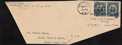 MIXED FRANK -CANAL ZONE #33 & PANAMA #200 on CRISTOBAL, C.Z. PARTIAL COVER FRONT