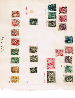 CANADA 1882-99  QUEEN VICTORIA collection of 24  # ** used cat $70.00  BK 01