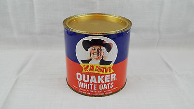 Vintage Quick Cooking Quaker White Oats Advertising Tin Can HOLLAND 35 oz