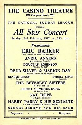 Eric Barker Avril Angers Douglas Robinson Beverley Sisters Gladys Penny Nat Hope