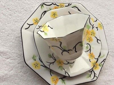 Melba Ware Flower Handle Hand Painted Octagonal Yellow Pansy Trio