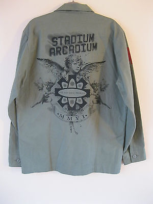 RARE Red Hot Chili Peppers Stadium Arcadium Olive Green Rock Band Army Shirt. XL