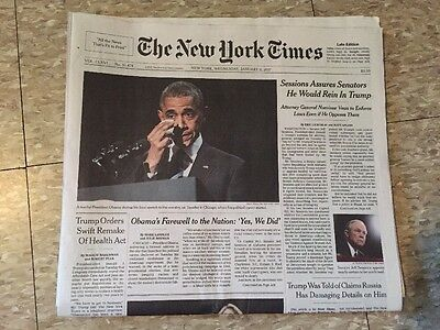 The New York Times January 11 2017 President Obama Farewell Newspaper NY