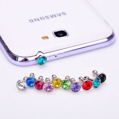 10Pc 3.5mm Mixed Crystal Anti Dust Cap Earphone Jack Plug Stopper For Cell Phone