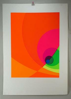 """Herb Aach Limited Edition Abstract Silkscreen  """"Split infinity PINK signed print"""