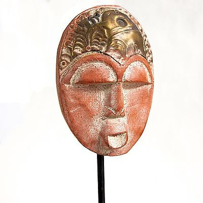 HAND CARVED DECORATIVE AFRICAN FACE SCULPTURE ON STAND w/ METAL HEADDRESS