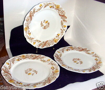 Haviland Limoges H&C Depose Yellow Floral Qty 3 Luncheon Plates Backstamps 21