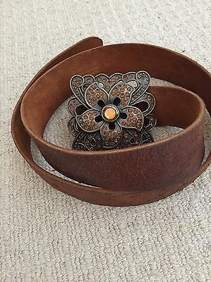 Brown Leather Belt with Fancy Buckle - M - River Island