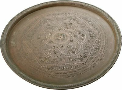 ORIGINAL Judaica Islamic Brass-Cooper Tray Hand-chasing Late 19th-early 20th cen