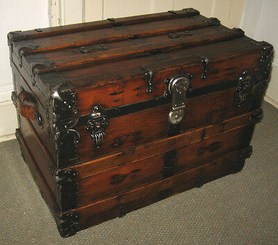 Antique Steamer Trunk Vintage Victorian Flat Top Rustic Wooden Chest C1890 W/key