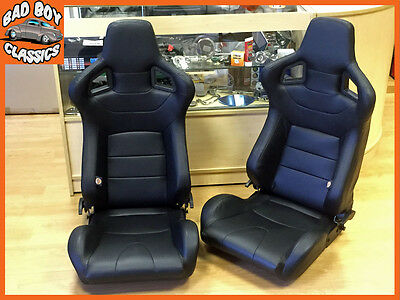 Pair BB6 Reclining Tilting Bucket Seats Black + Universal Dual Lock Runners