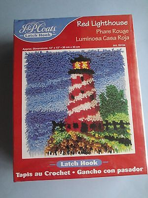 NEW J&P Coats LATCH HOOK Red Lighthouse Rug Kit NEW Sealed