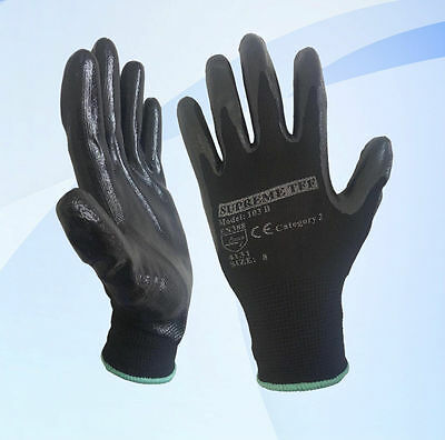 24 Pairs Black Nitrile Coated Work Gloves Builders Construction Gardening Grip