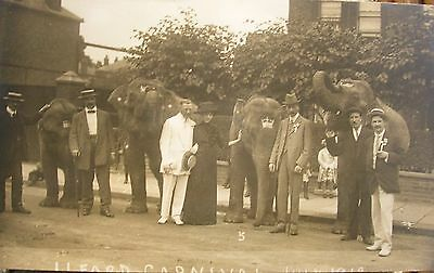 Baby Elephants At Ilford Carnival Essex 1912 Rp Pc