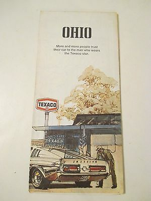 Vintage 1973 TEXACO OHIO Gas Service Station Road Map